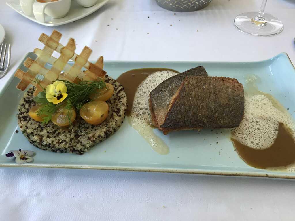Filet von der Dorade-Royal mit gelbem Kirschtomaten-Curry und buntem Quionoa