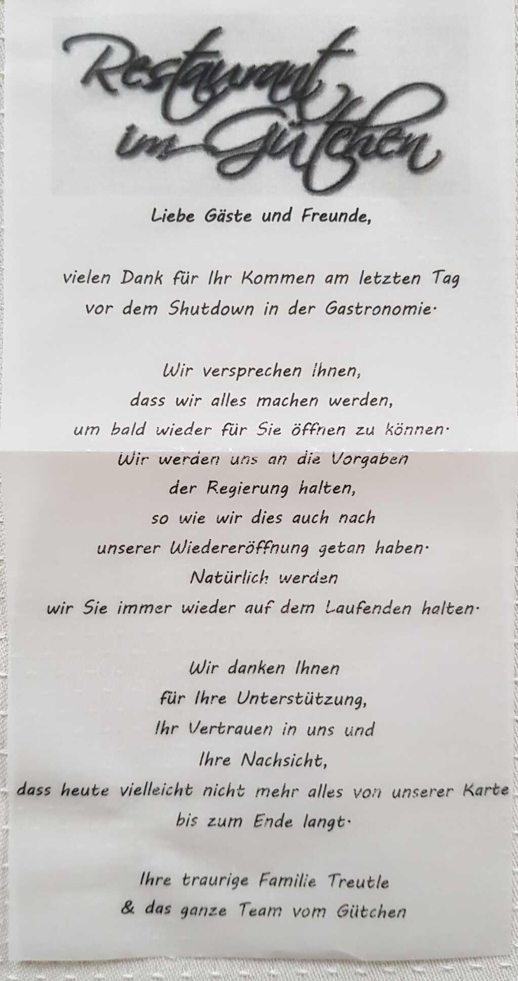 Beeindruckender Brief an die Gäste