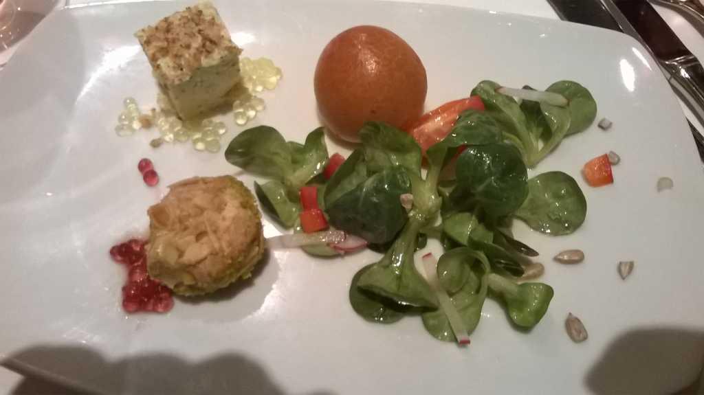 Foie gras, Feldsalatbukett, Brioche