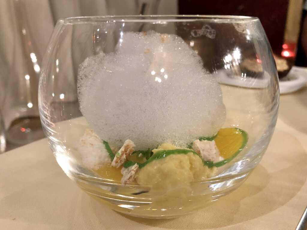 Namelaka mit Zapaca Rum, Green Mojito und soufflierter Quinoa
