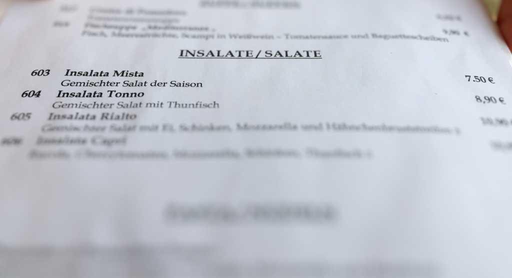 Insalata mista (gemischter Salat der Saison, 7,50 €)