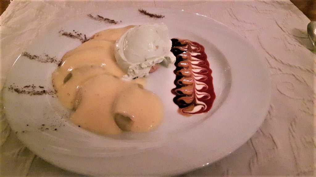 Pfirsich/Champagnersabayon/Eis