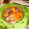Hirschfilet mit Senfkruste und Kürbis-Nudeln