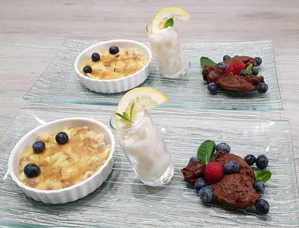 Bratapfelbrûlée und Mousse au Chocolat