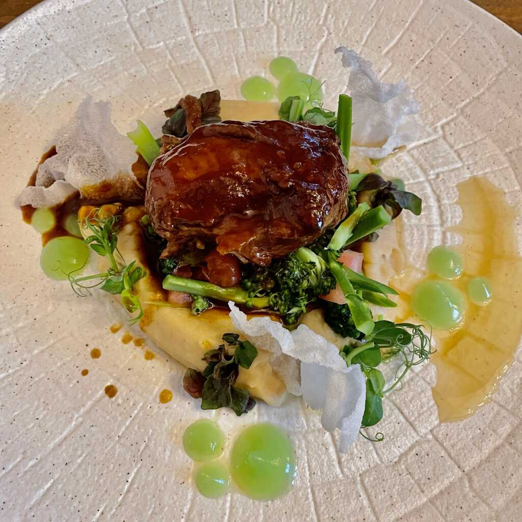 Schweinebacke - Knollensellerie-Püree - wilder Brokkoli - Tomate - Kalbsjus - Staudensellerie-Gel