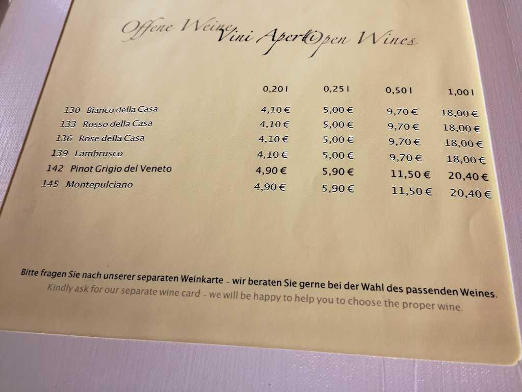 Ausriß aus der Weinkarte (fokussiert)