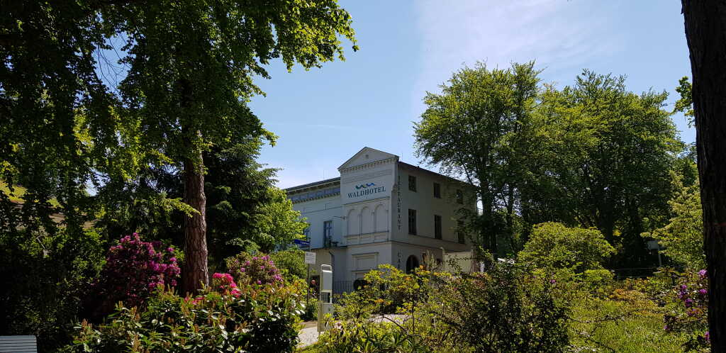 Blick vom Rhododendronpark auf das Hotel