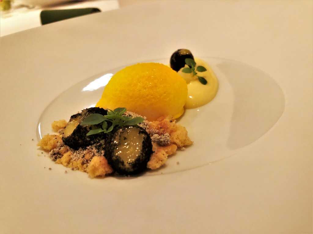Zitrone / Lemoncurd / Basilikum / Olive