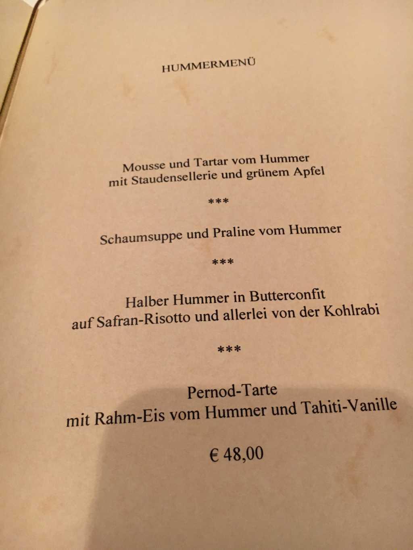 Hummer-Menue