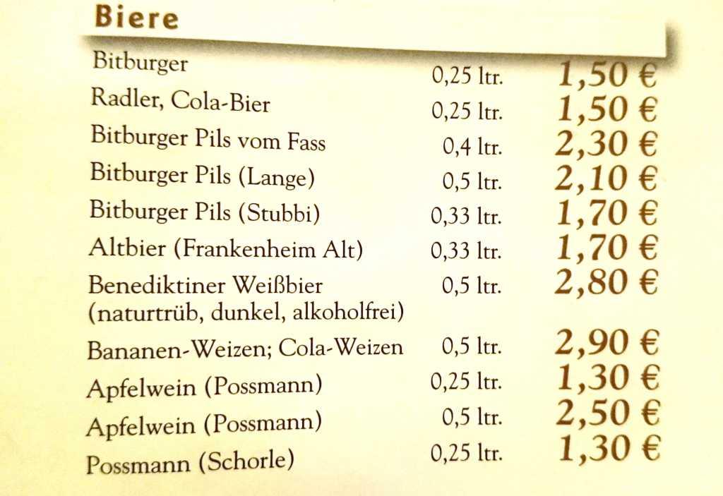 Wein und Schorle bei den Bieren