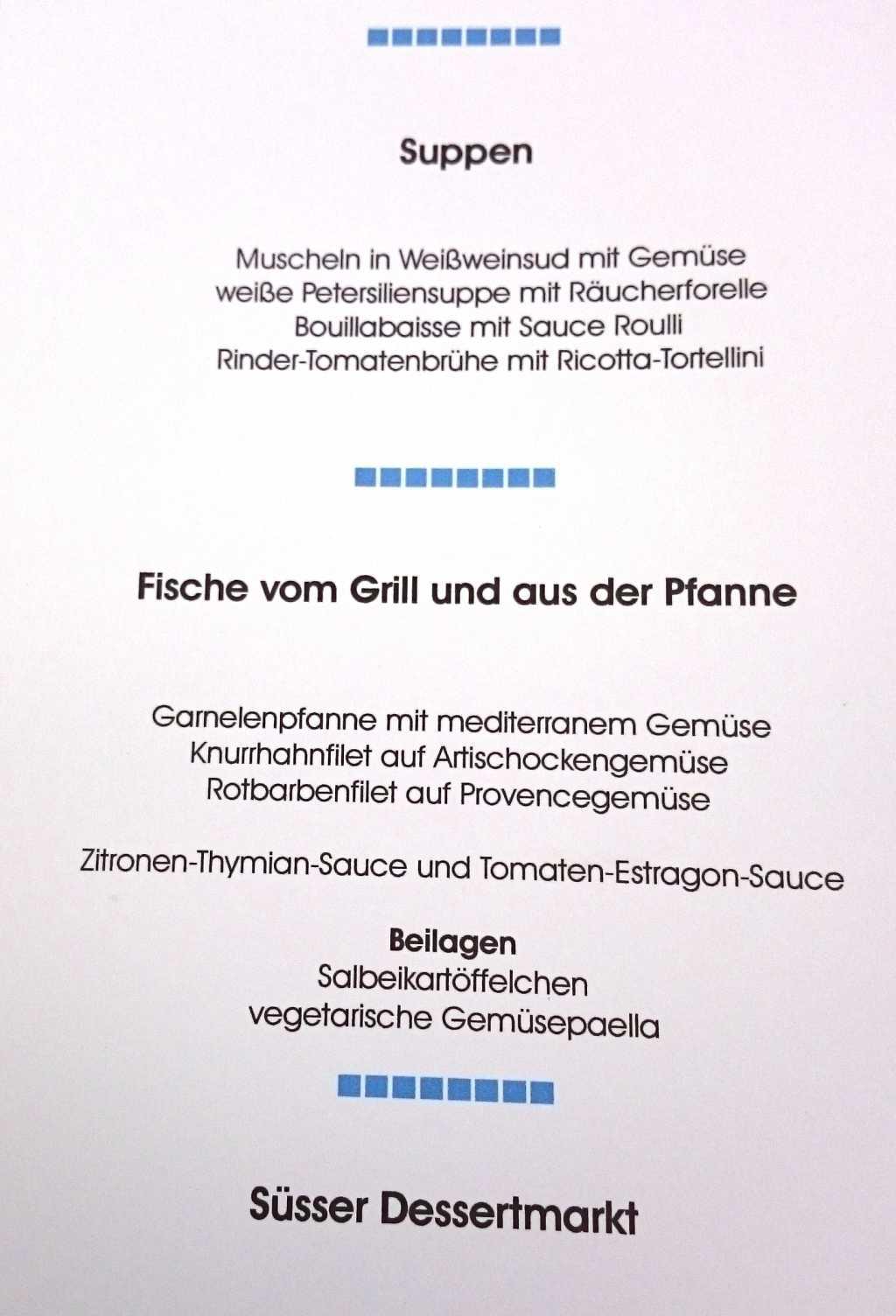 Suppen und Hauptspeisen am 08.09.17