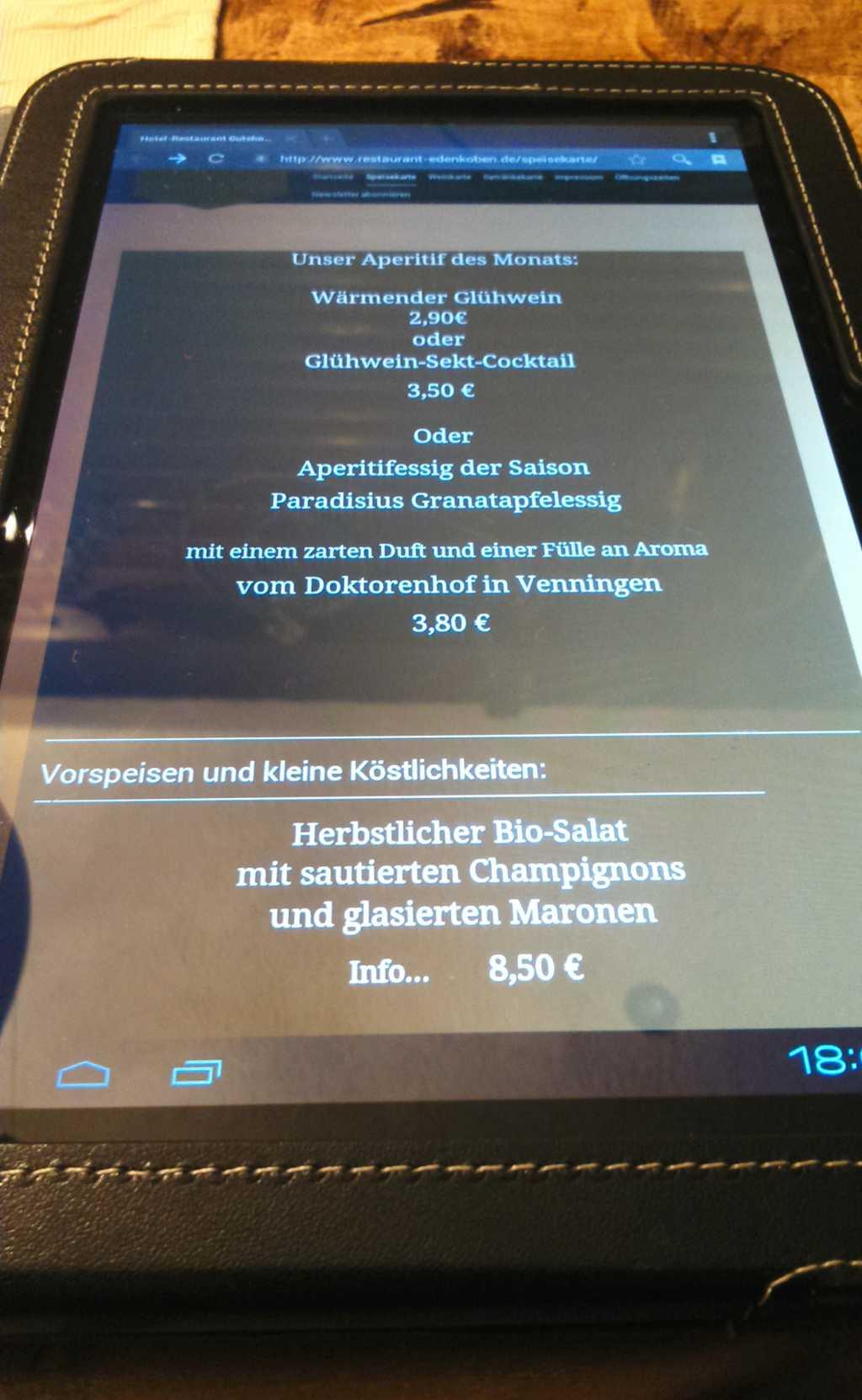 Gutshof Ziegelhütte - IPad Speisekarte