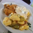 Foto zu Alte Schlachthof Kantine   ...am Lyonerring: Hausgemachte Fischstäbchen mit Kartoffelsalat und Remouladensoße