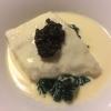 Atlantik-Steinbutt mit Kaviar / Blattspinat / Champagnersauce