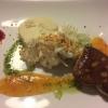 Zweierlei von der Gänsestopfleber / Süßweingelee / Chili-Aprikose / Apfel-Sellerie-Salat / Basilikum