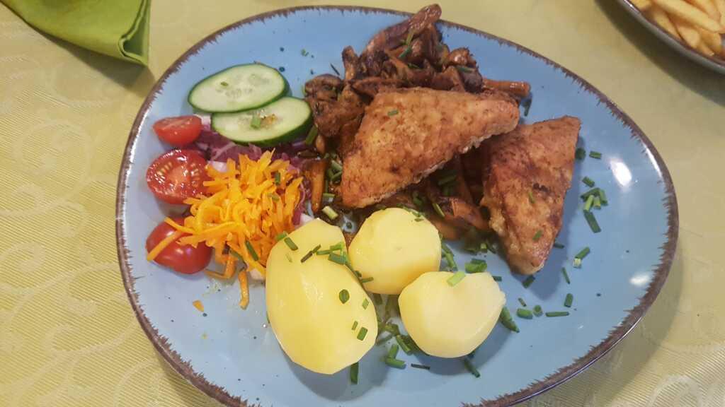 Steinbeißerfilet - gebraten mit Pfifferlingen, Salzkartoffeln und Salatbelage