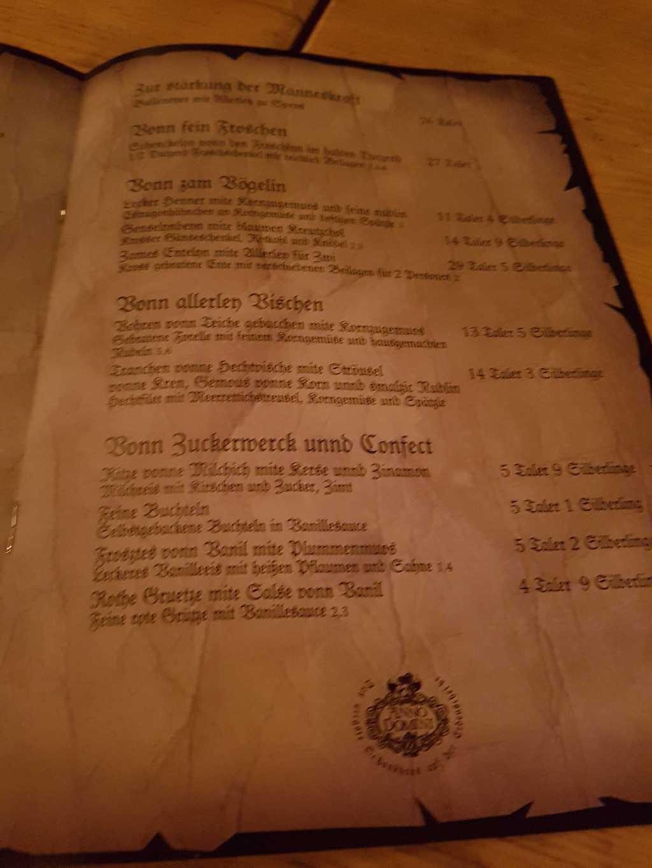 Auszug aus dem Register(der Speisekarte)