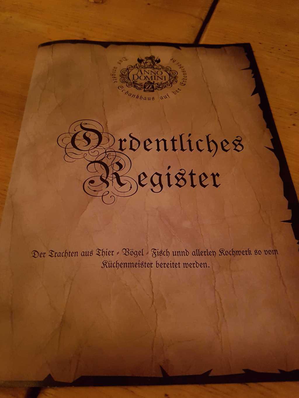 Das Register(die Speisekarte)
