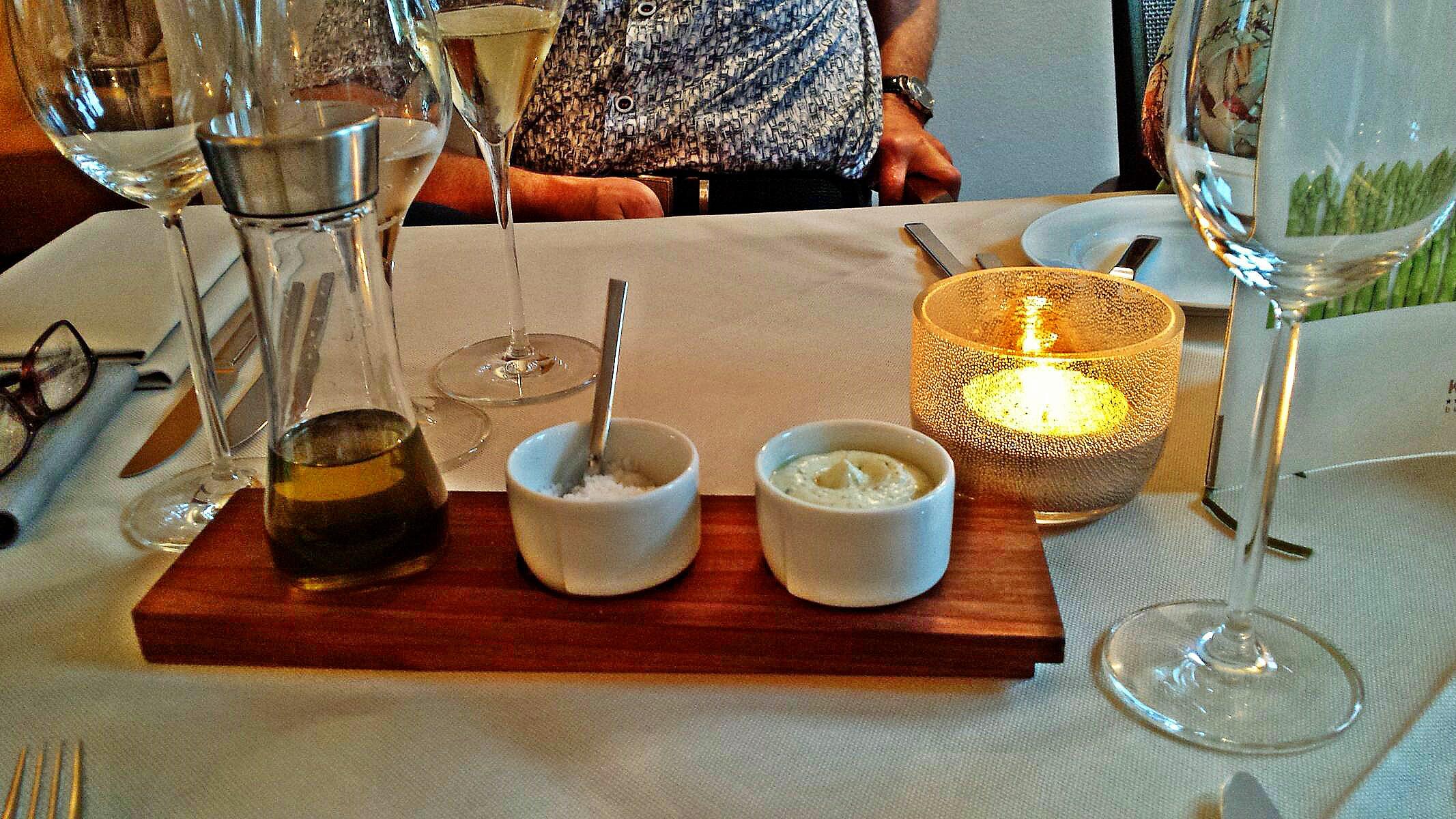Öl, Fleur de sel, Kräutercreme